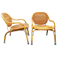 Very Rare Pair of Mats Theselius Rattan and Steel Armchairs for Ikea