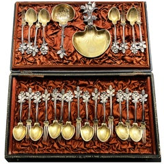 Very Rare Paiva Strawberry Serving Set for 12 Guests French Sterling Silver 1864