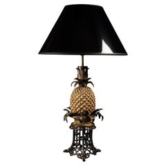 Very Rare Pineapple Lamp on a Wicker Basket with a Bronze Chinoiserie Base