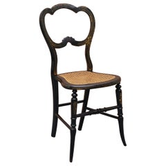 Very Rare Regency circa 1810 Ebonized Berger Rattan Hand Painted Side Chair