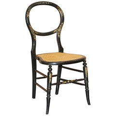 Very Rare Regency circa 1810 Ebonized Berger Rattan Mother of Pearl Side Chair