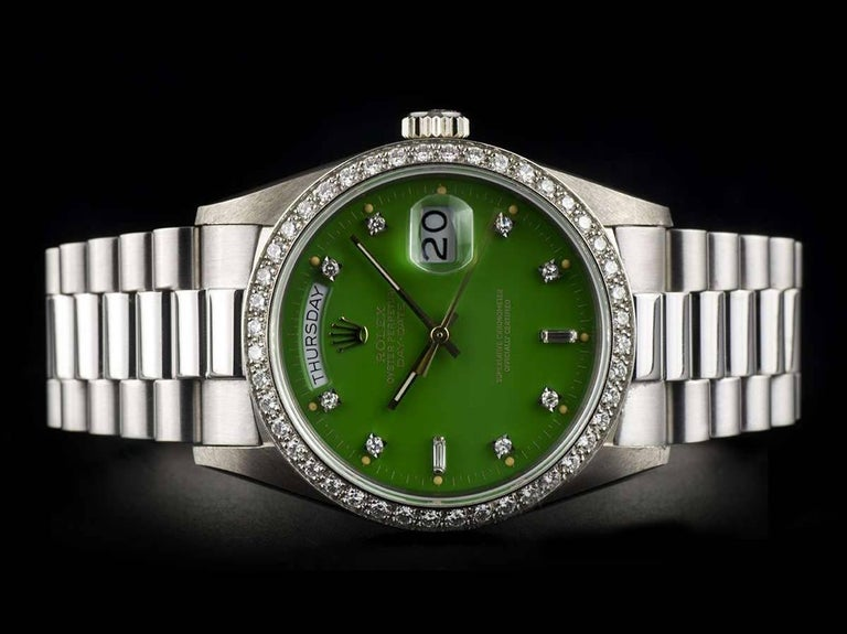 Very Rare Rolex Green Stella Dial Omani Crest Diamond Bezel Oyster Day-Date In Excellent Condition For Sale In London, GB