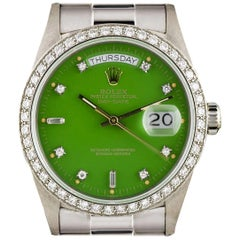Very Rare Rolex Green Stella Dial Omani Crest Diamond Bezel Oyster Day-Date