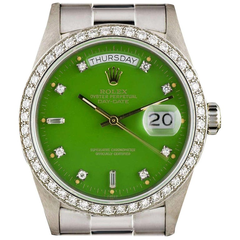 Very Rare Rolex Green Stella Dial Omani Crest Diamond Bezel Oyster Day-Date For Sale
