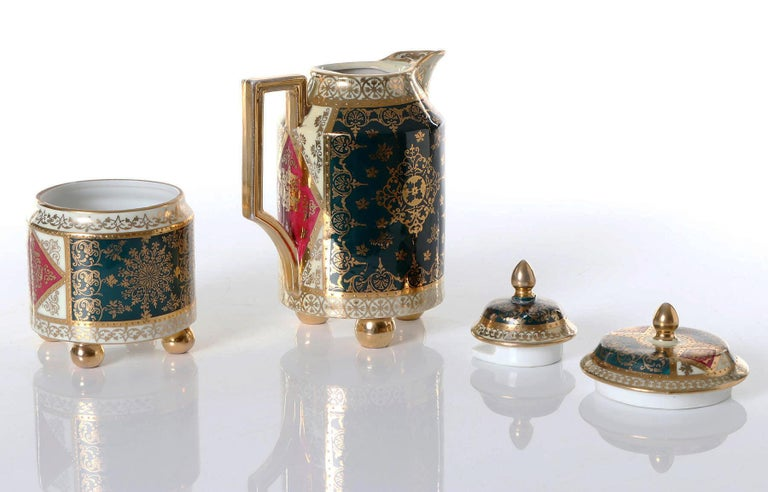 Royal Vienna Porcelain hand painted (probably by Angelica Kauffmann) sugar box and can with cover. Measures: Height 11cm and 17cm.