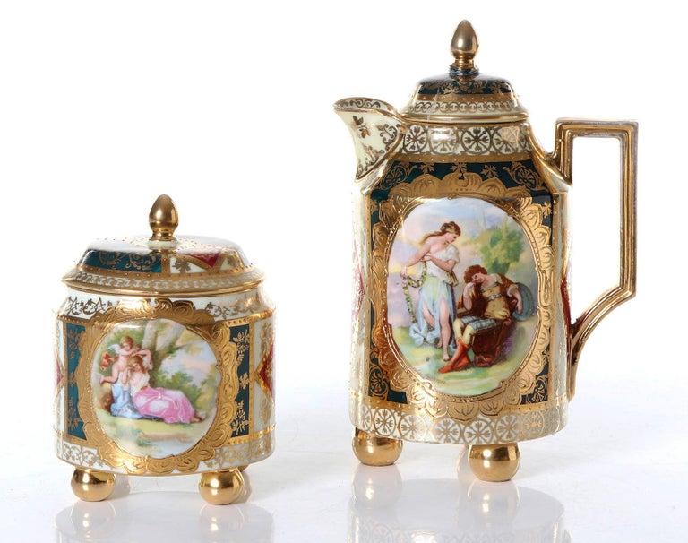 Very Rare Royal Vienna Porcelain Alt Wien Can and Sugar Box In Good Condition For Sale In Vienna, AT