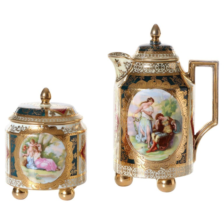 Very Rare Royal Vienna Porcelain Alt Wien Can and Sugar Box For Sale