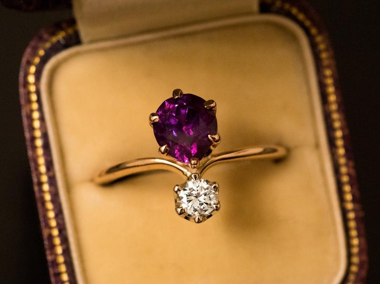 Art Nouveau Very Rare Russian Alexandrite and Diamond Engagement Ring For Sale