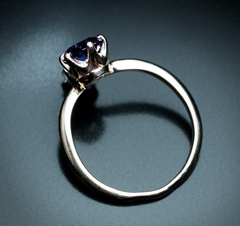 Very Rare Russian Alexandrite and Diamond Engagement Ring For Sale 1