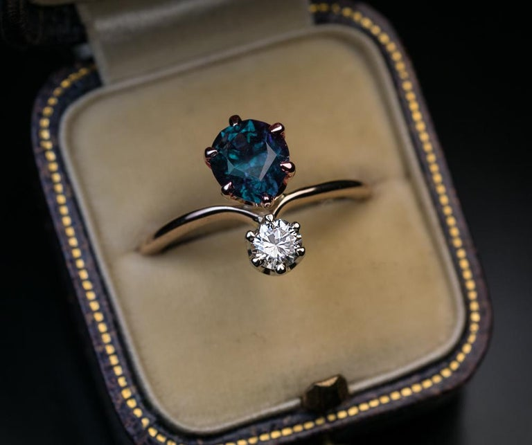 Very Rare Russian Alexandrite and Diamond Engagement Ring For Sale 3
