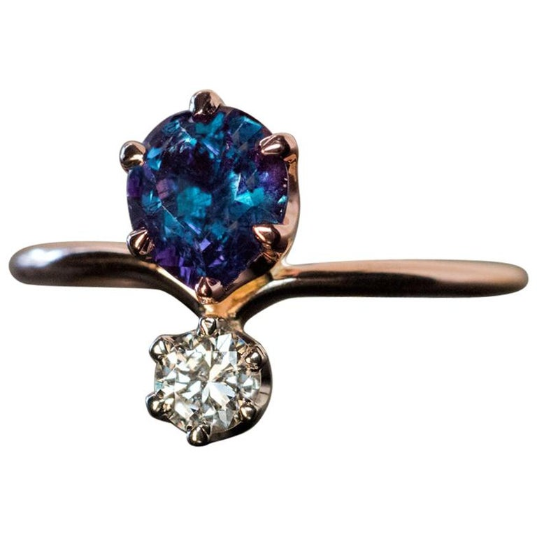 Very Rare Russian Alexandrite and Diamond Engagement Ring For Sale