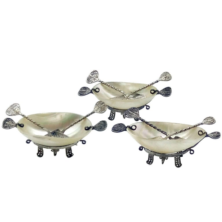 Very Rare Russian Caviar Servers in Mother-of-Pearl and Silver