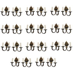 Very Rare Set of 22 French Brass Sconces, 18 Double Arms, Four Single Arm