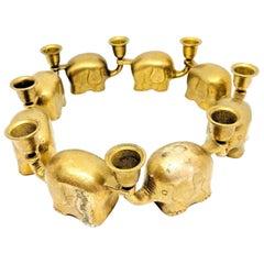 Very Rare Set of Eight Art Deco Brass Candlesticks Candleholders Elephant Herd