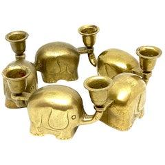 Very Rare Set of Five Art Deco Brass Candlesticks Candleholders Elephant Herd