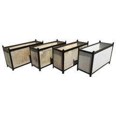 Very Rare Set of Four Rectangular Steel Framed Planters by Willy Guhl