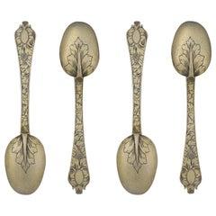 Very Rare Set of Four Trefid Teaspoons, London, circa 1690, Maker AH