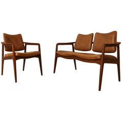 Very Rare Set of Sigvard Bernadotte Armchair and 2-Seat for France & Son, 1950s