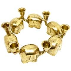 Very Rare Set of Six Art Deco Brass Candlesticks Candleholders Elephant Herd