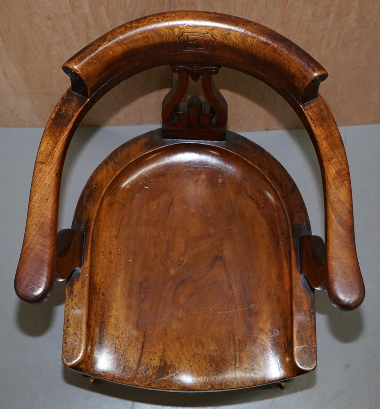 Very Rare Set of Six Eton College Victorian Walnut Captains Chairs Carved EC For Sale 3