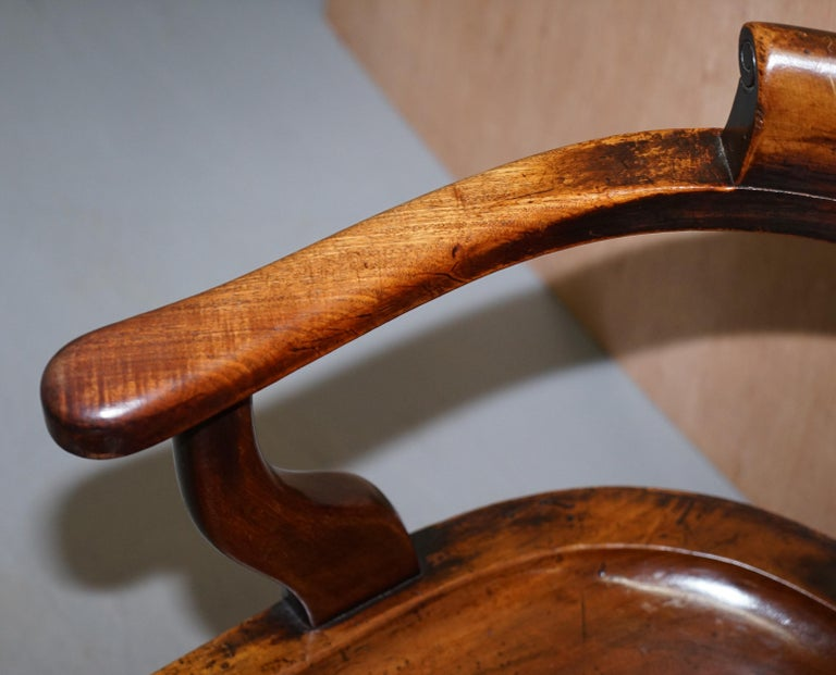Very Rare Set of Six Eton College Victorian Walnut Captains Chairs Carved EC For Sale 6
