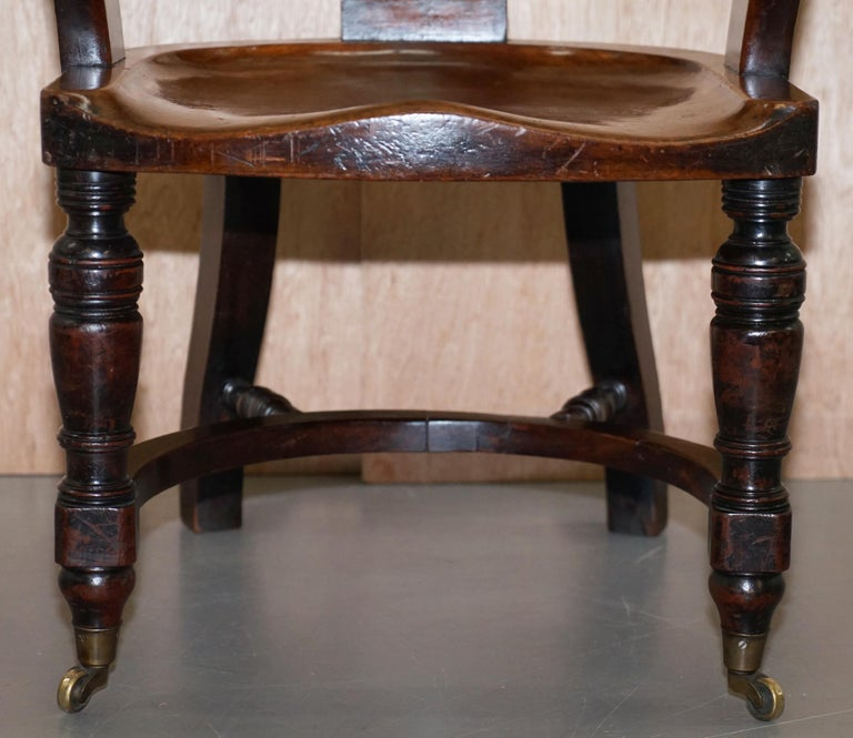 Very Rare Set of Six Eton College Victorian Walnut Captains Chairs Carved EC For Sale 7