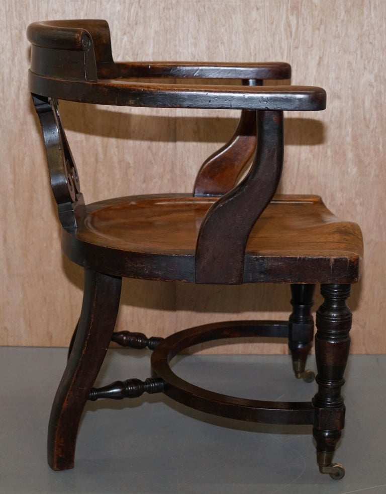 Very Rare Set of Six Eton College Victorian Walnut Captains Chairs Carved EC For Sale 9