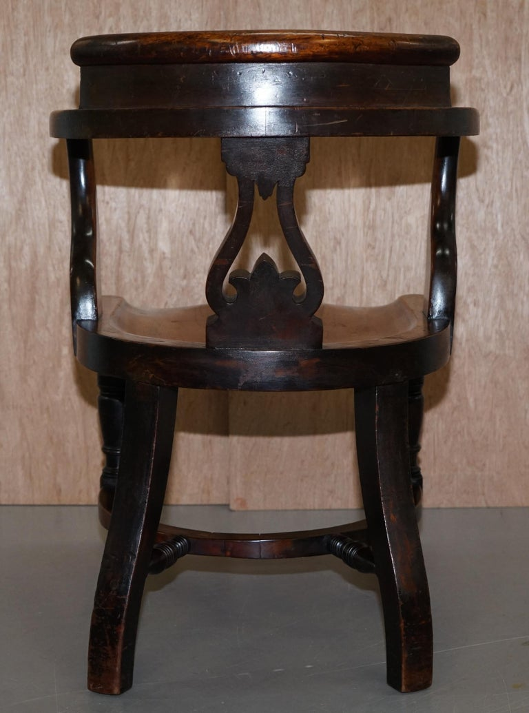 Very Rare Set of Six Eton College Victorian Walnut Captains Chairs Carved EC For Sale 11