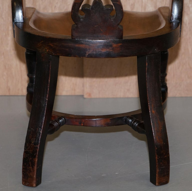 Very Rare Set of Six Eton College Victorian Walnut Captains Chairs Carved EC For Sale 12