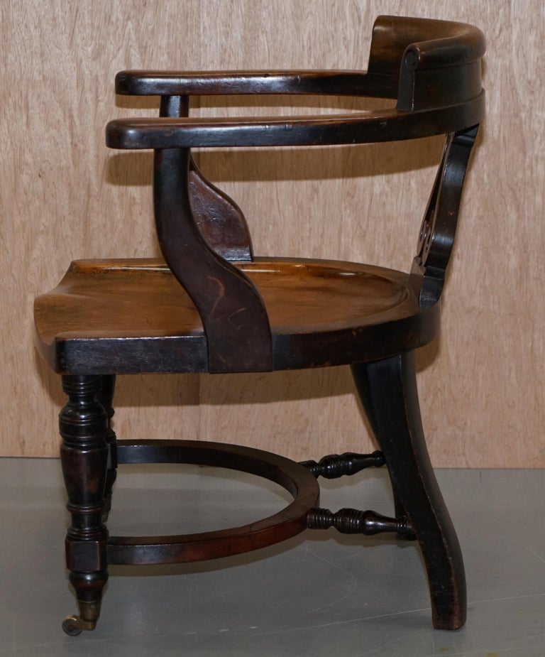 Very Rare Set of Six Eton College Victorian Walnut Captains Chairs Carved EC For Sale 13