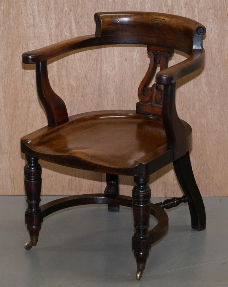 English Very Rare Set of Six Eton College Victorian Walnut Captains Chairs Carved EC For Sale