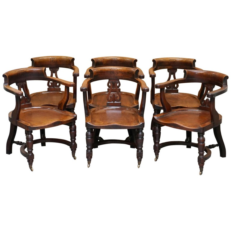 Very Rare Set of Six Eton College Victorian Walnut Captains Chairs Carved EC For Sale