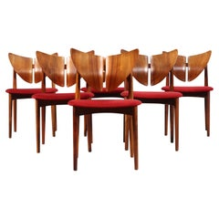 Very Rare Set of Six Kurt Østervig Butterfly Dining Chairs in Teak