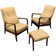 Very Rare Set of Two Lounge Chairs and Stool by Gio Ponti