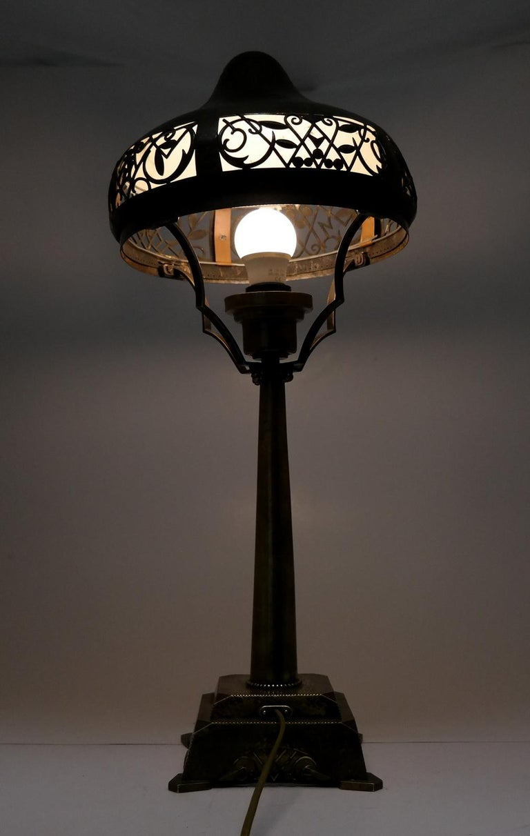 Very Rare Signed Art Deco Brass Table Lamp, 1930 7