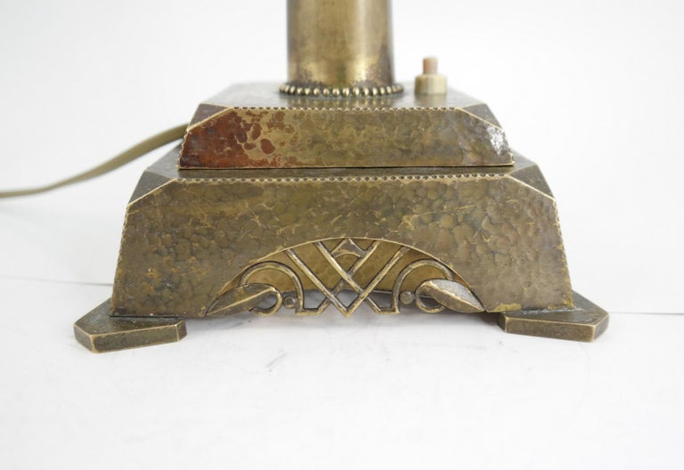 Hammered Very Rare Signed Art Deco Brass Table Lamp, 1930