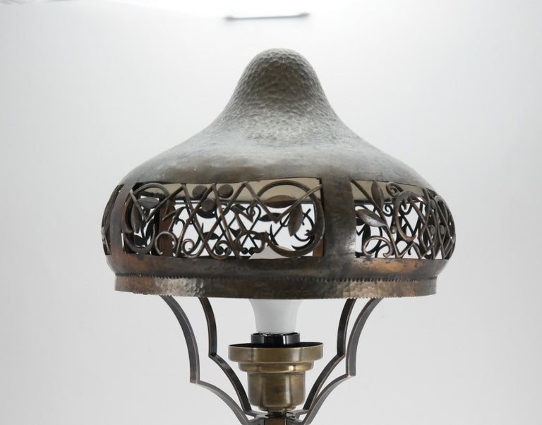 Very Rare Signed Art Deco Brass Table Lamp, 1930 In Good Condition In Budapest, HU