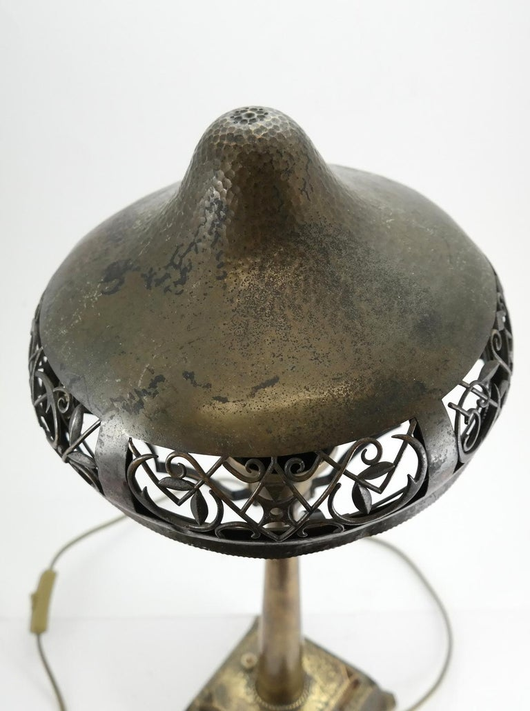 Very Rare Signed Art Deco Brass Table Lamp, 1930 3