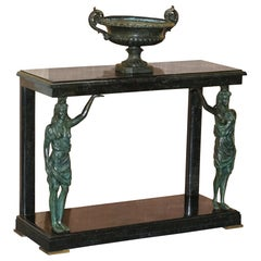 Very Rare Solid Marble & Bronze Console Table with Semi Nude Women as Supports