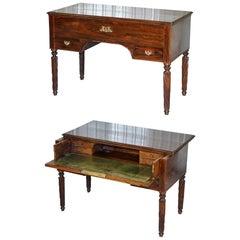 Very Rare Solid Rarewood French Louis Phillipe 19th Century Campaign Desk Bureau