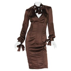 Very Rare Tom Ford for Gucci 2003 Collection Silk Brown Bow Dress as seen on JLO