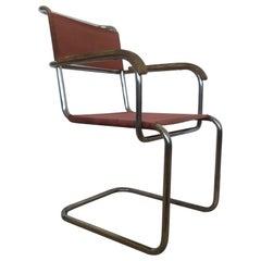 Very Rare Tubular Steel Bauhaus Chrome Chair, 1930s