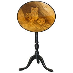 Very Rare Victorian Tilt Top Ebonised Table with Pen Work Drawings of Fox Cubs