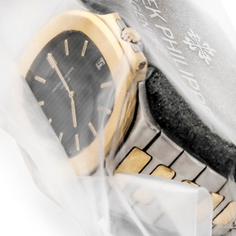 Very Rare Vintage Patek Philippe Stainless Steel and 18 Karat Gold Nautilus For Sale 1