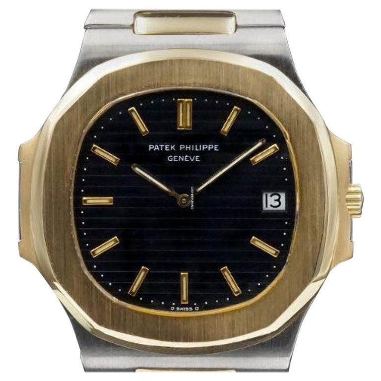 Very Rare Vintage Patek Philippe Stainless Steel and 18 Karat Gold Nautilus For Sale