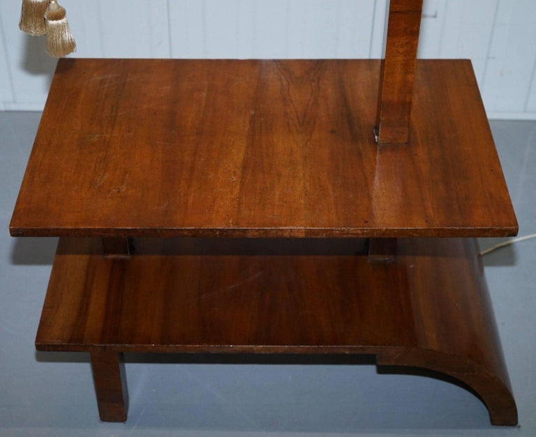 Very Rare Walnut Art Deco Large Side Table With Built In