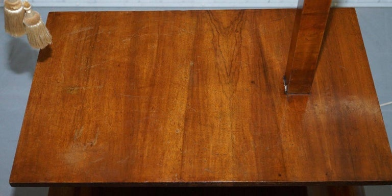 British Very Rare Walnut Art Deco Large Side Table with Built in Height Adjustable Light For Sale