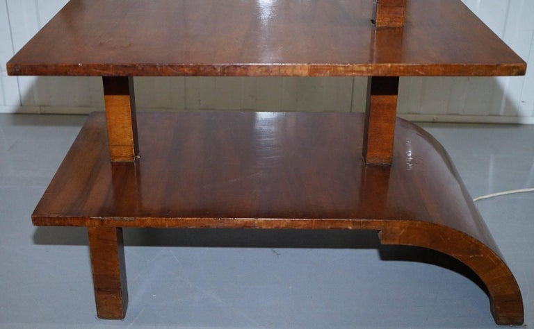 Hand-Crafted Very Rare Walnut Art Deco Large Side Table with Built in Height Adjustable Light For Sale