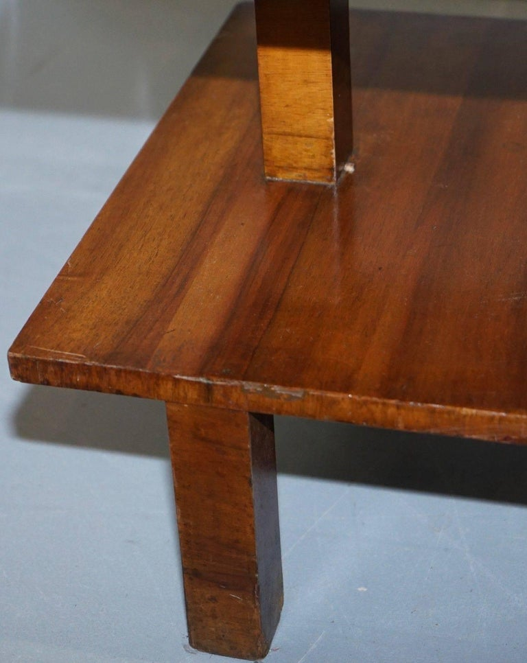 Very Rare Walnut Art Deco Large Side Table with Built in Height Adjustable Light In Fair Condition For Sale In London, GB