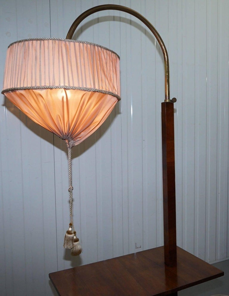20th Century Very Rare Walnut Art Deco Large Side Table with Built in Height Adjustable Light For Sale